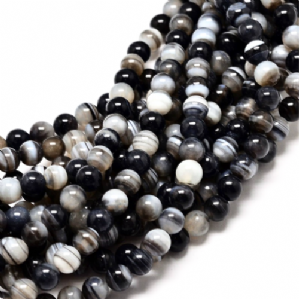 16 Inch Black Agate 6mm Round Beads